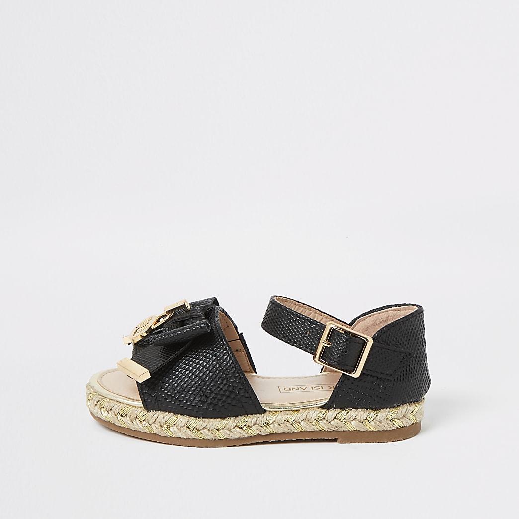 Mini girls black bow espadrille sandals