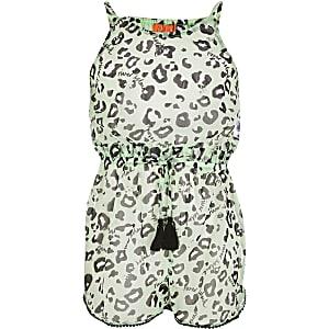 Combi-short de plage imprimé léopard vert pour fille