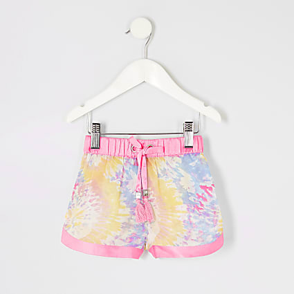 Mini girls pink tie dye sheer beach shorts