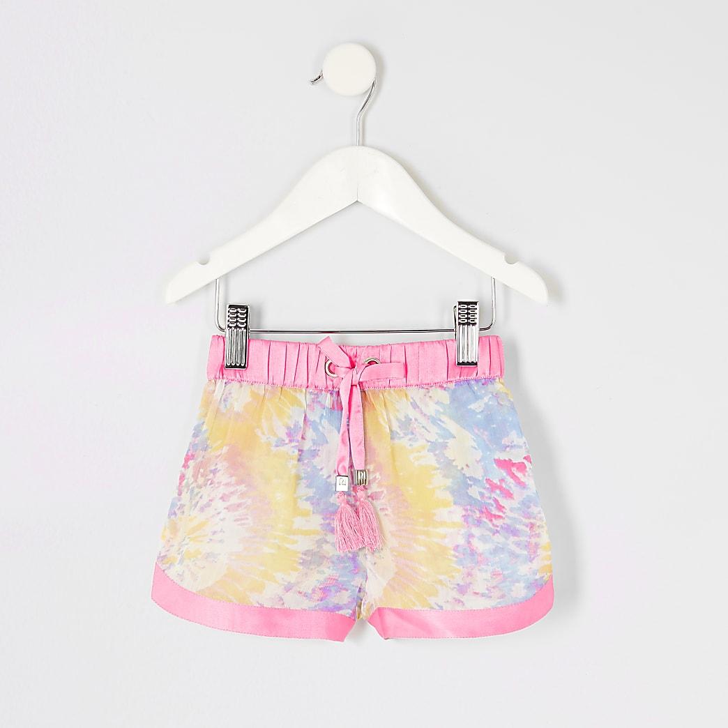 Mini girls pink tie dye sheer beach shorts