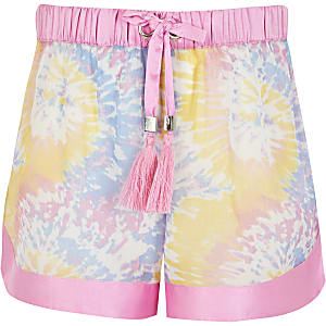 Girls pink tie dye sheer beach shorts