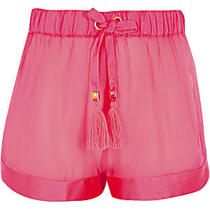 Shorts de plage transparents rose fluo pour fille