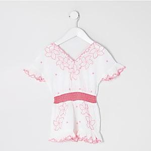 Mini - Witte geborduurde strandplaysuit voor meisjes