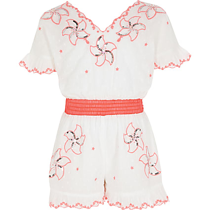 Girls white embroidered sequin playsuit