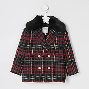 Zweireihiger Mantel in Rot mit Schottenkaros für kleine Mädchen