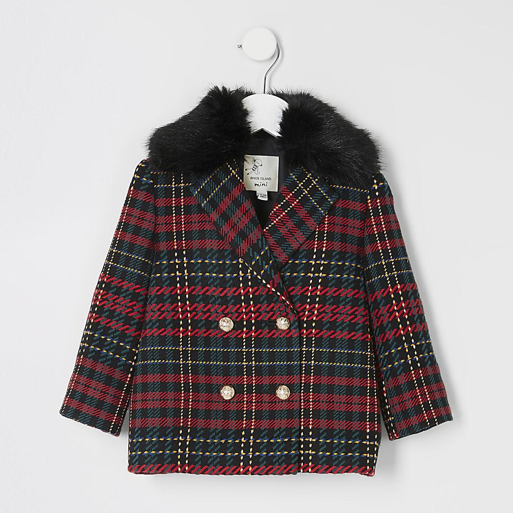 Mini girls red tartan double breast coat