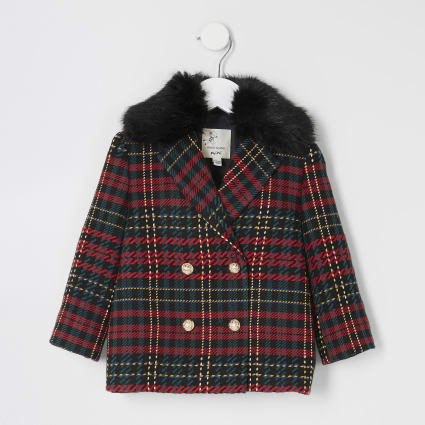 Mini girls red tartan double breast coat