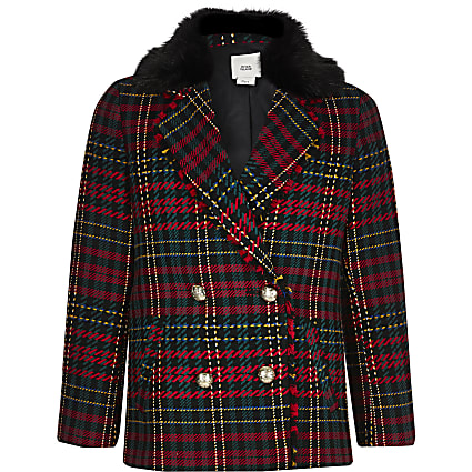 Girls red tartan faux fur collar blazer