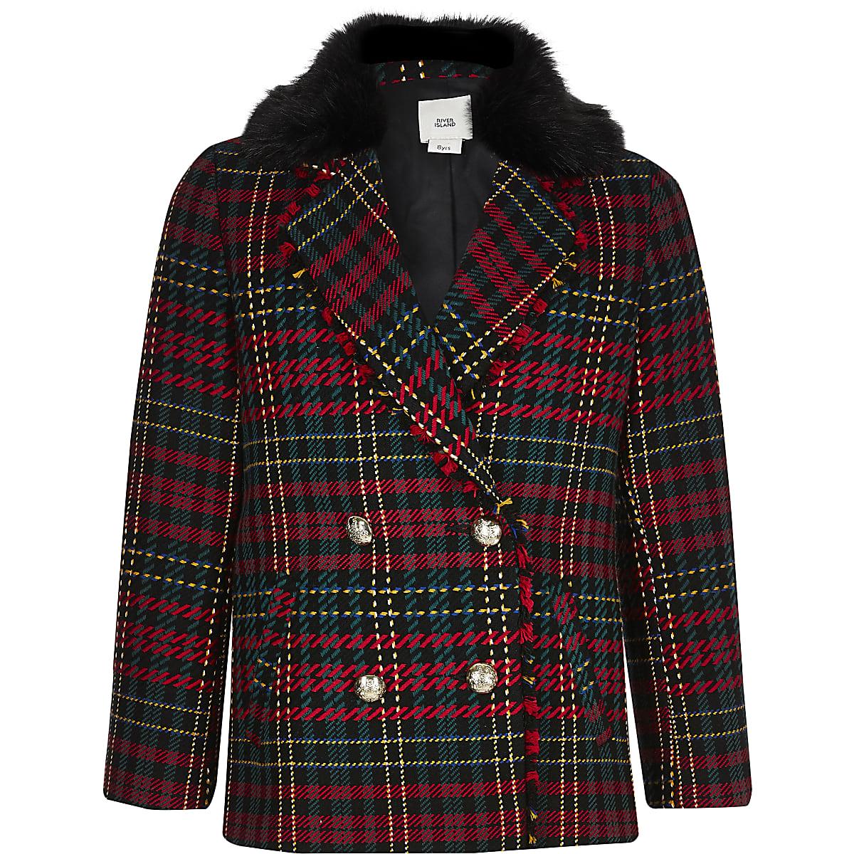 Girls red tartan faux fur collar blazer