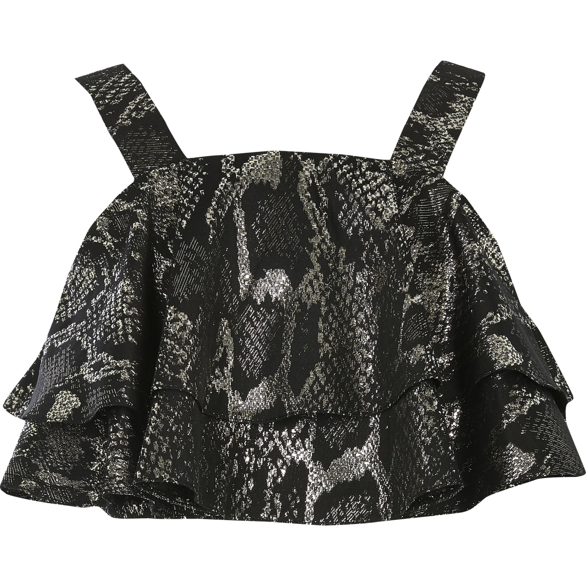 Girls silver snake print frill cropped top
