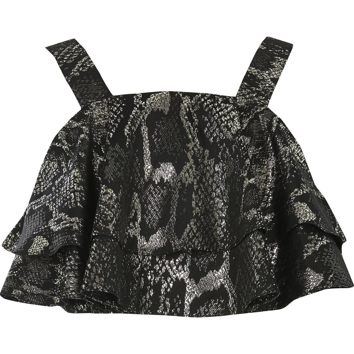 Zilverkleurige cropped top met ruches en slangenprint voor meisjes