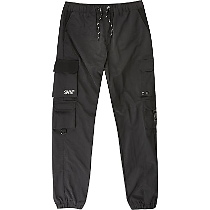 Boys SVNTH black nylon joggers