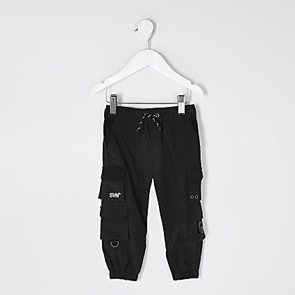Mini boys SVNTH black nylon joggers