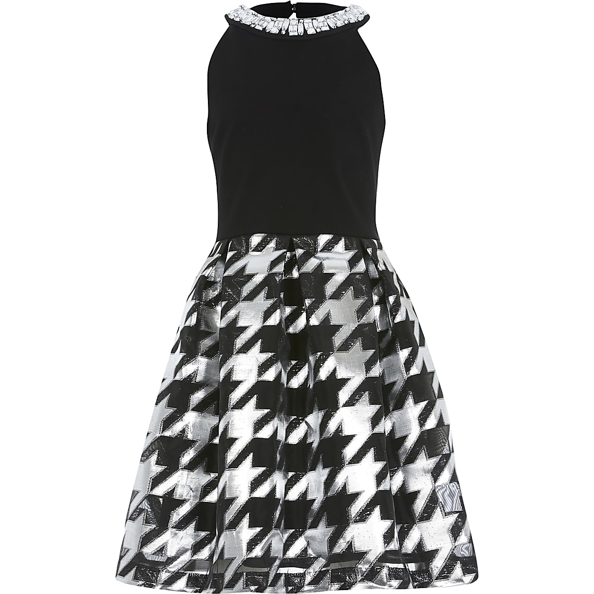 Girls black dogtooth skirt jewel neck dress