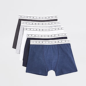 Set van 5 marineblauwe boxers met RI-tailleband