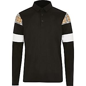 Schwarzes, kariertes Poloshirt in Blockfarben für Jungen