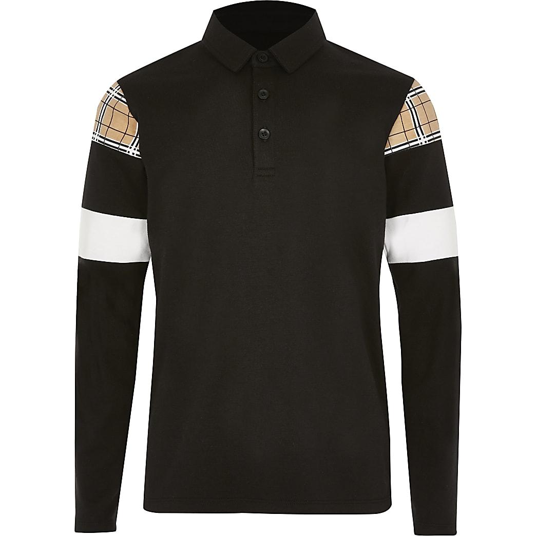 Boys black check blocked polo shirt