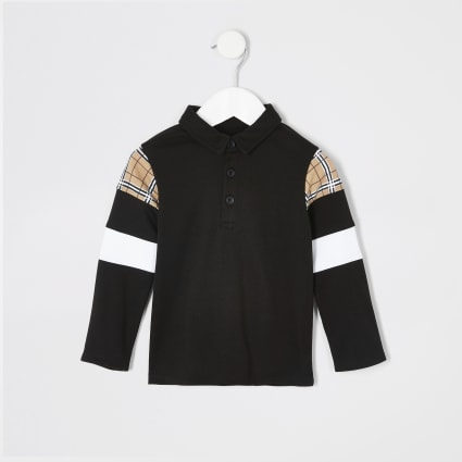 Mini boys black check long sleeve polo shirt