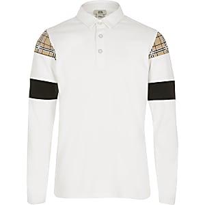 Weißes, kariertes Poloshirt in Blockfarben für Jungen