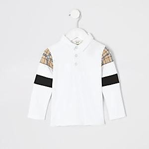 Langärmeliges, weißes Poloshirt in Blockfarben für kleine Jungen