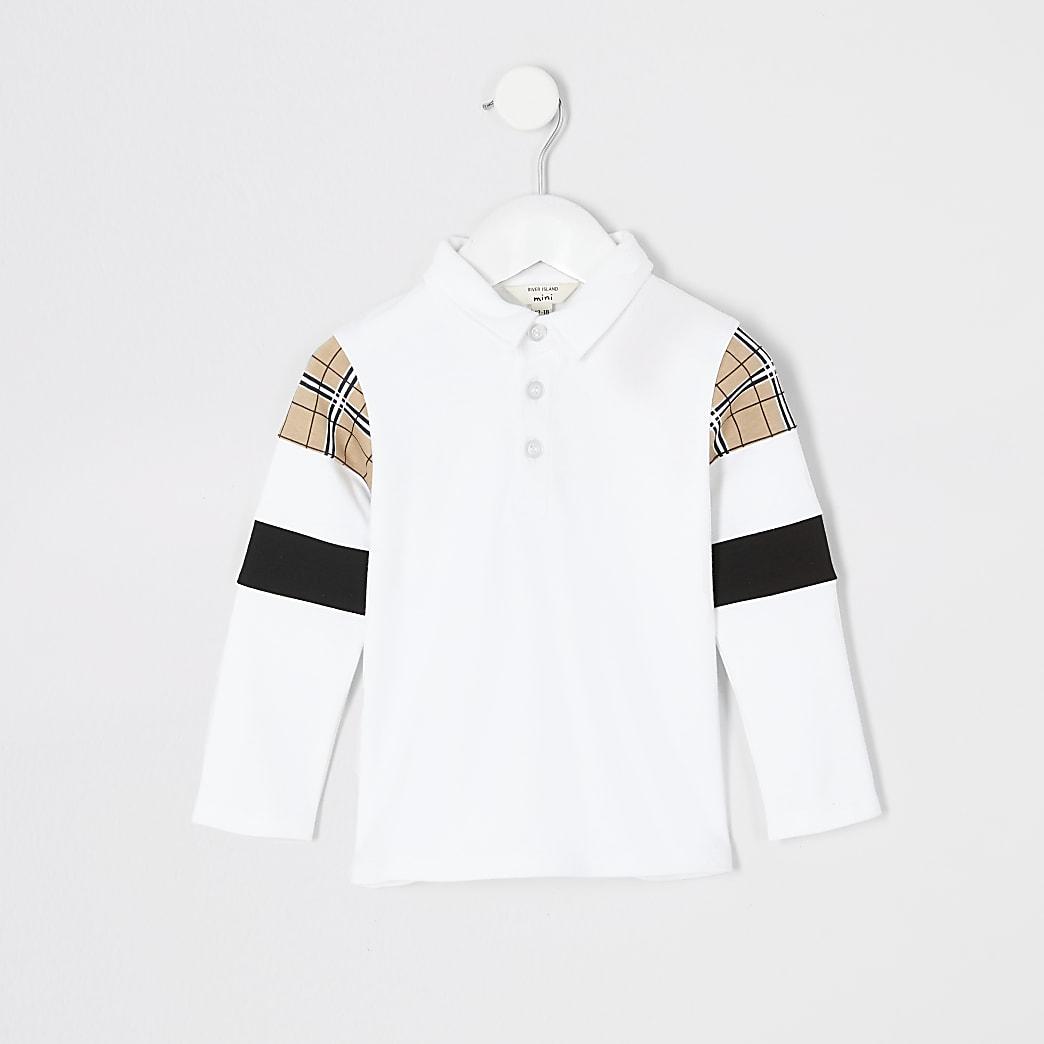 Mini boys white block long sleeve polo shirt