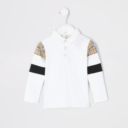 Mini boys white block long sleeve polo shirt