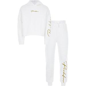 """Weißes Outfit mit Hoodie """"Prolific"""" für Mädchen"""