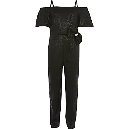 Girls black bow belted bardot jumpsuit