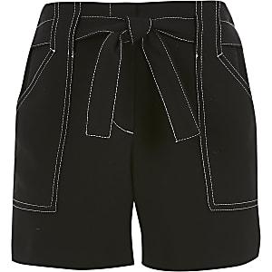 Girls black contrast stitch shorts
