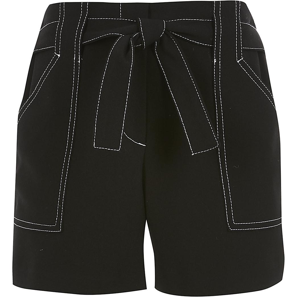 Short noir à coutures contrastantes pour fille
