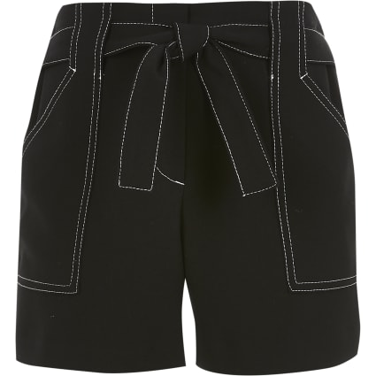 Girls black contrast stitch shorts