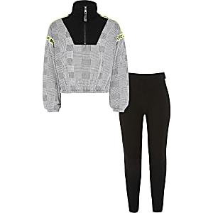 Zwarte geruite outfit met hoodie met halve rits voor meisjes