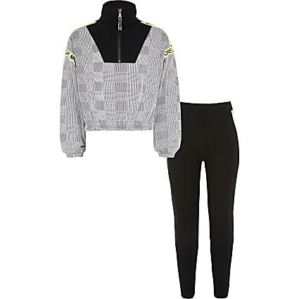 Girls black check half zip sweatshirt outfit