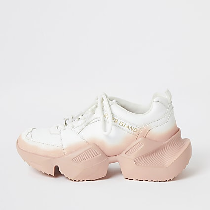 Girls white ombre chunky lace-up trainers