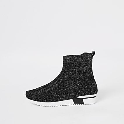 Girls black glitter high top knitted trainers
