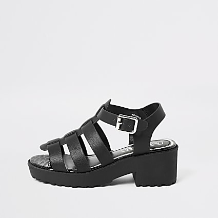 Girls black gladiator chunky heeled sandals