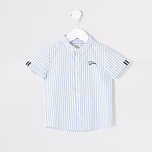 Mini boys blue stripe button down shirt