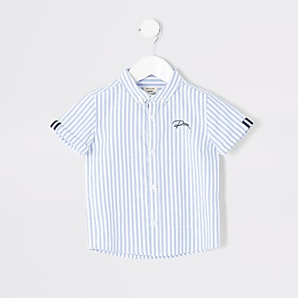 Mini boys blue stripe button down shirt