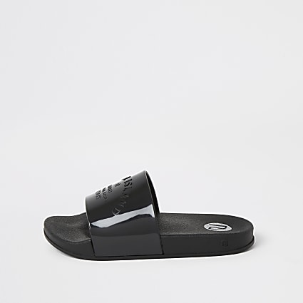Girls black RI embossed jelly sliders