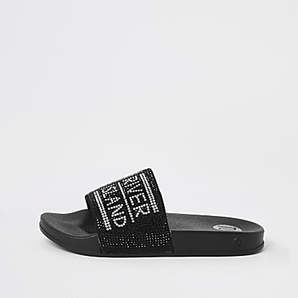 Girls black RI diamante sliders