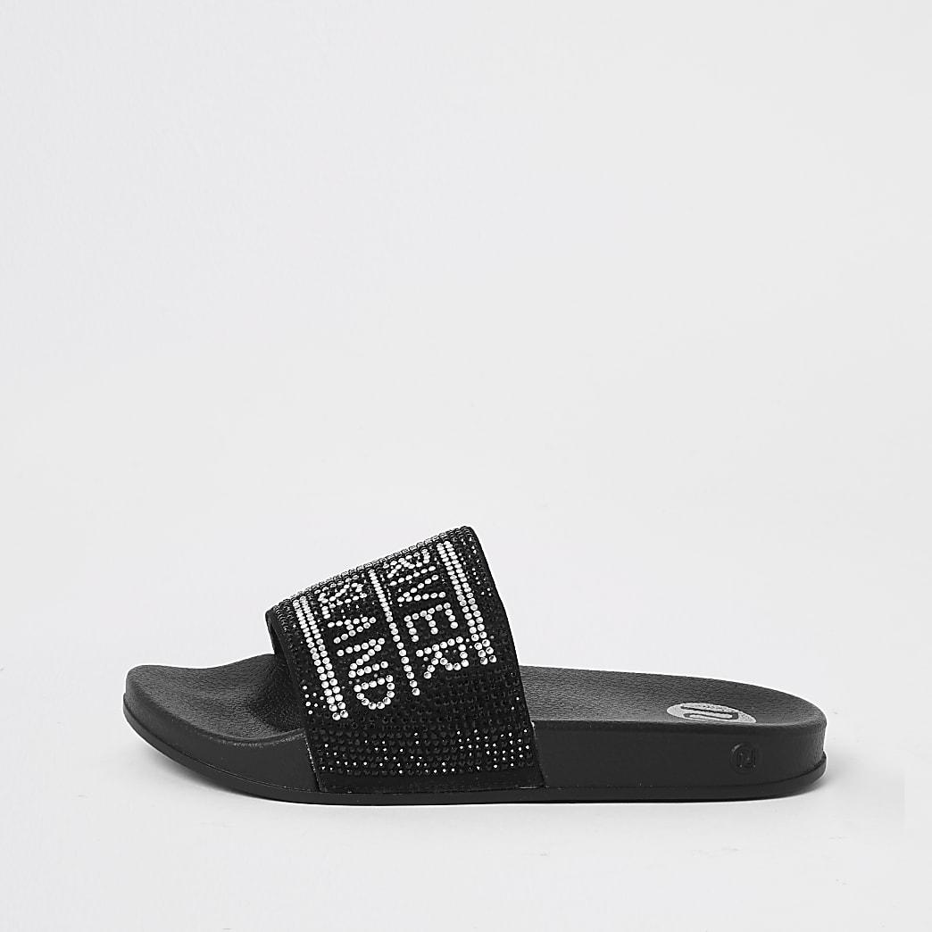 Zwarte slippers met siersteentjes voor meisjes
