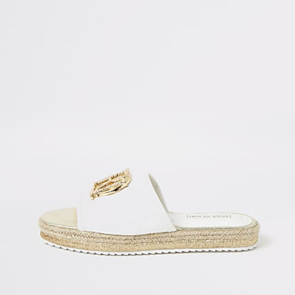 Girls white quilted RI mule sandals