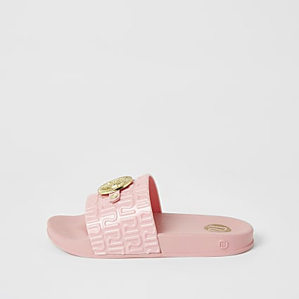 Girls coral panther head RI jelly sliders