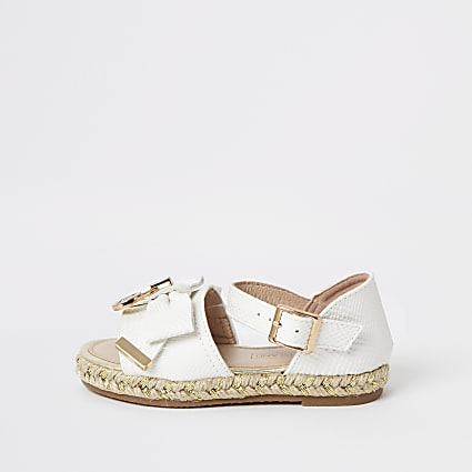 Mini girls white bow espadrille sandals