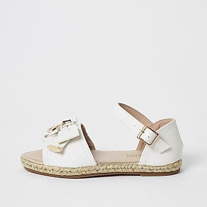 Girls white bow espadrille sandals