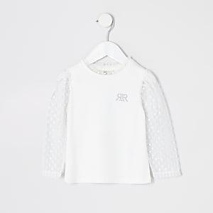 Mini - Wit T-shirt met meshmouwen met stippen voor meisjes