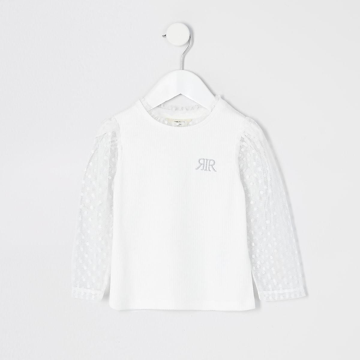 Mini girls white dot mesh sleeve T-shirt