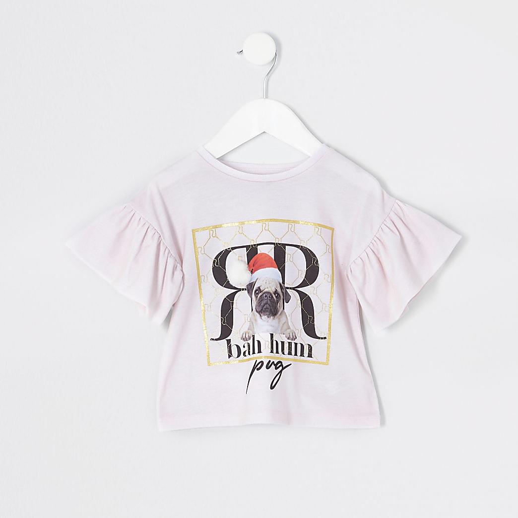 Mini - Roze kerst T-shirt met pugprint en pompon