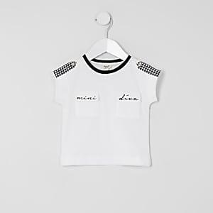 """Mini – Kariertes """"Mini Diva"""" T-Shirt für Mädchen mit Hahnentrittmuster"""