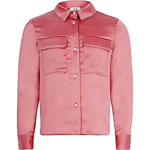 Koraalkleurig overhemd met lange mouwen en kralenborduursel